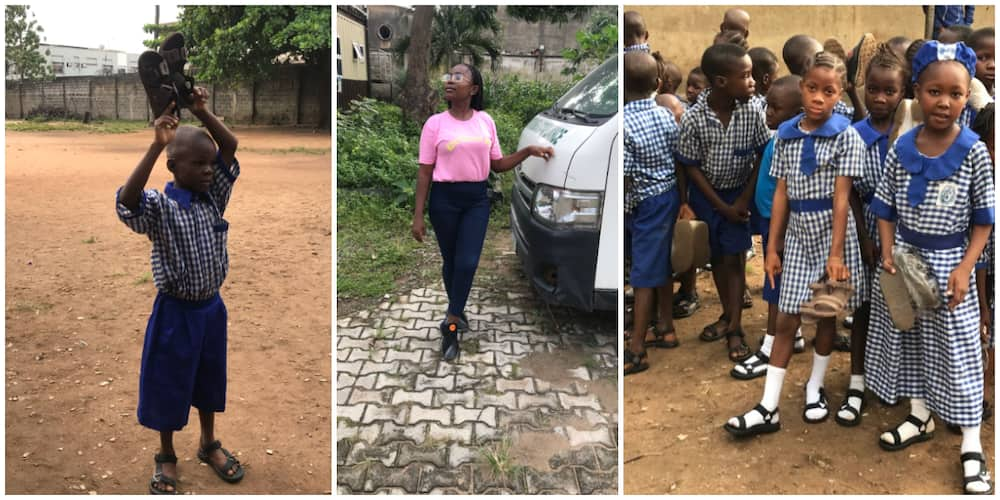 Poor boy who wore nylon-tied sandals to school gifted new shoes by young lady