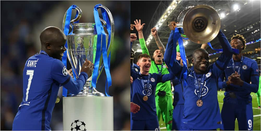 This is what Kante did when he approached the Champions League trophy