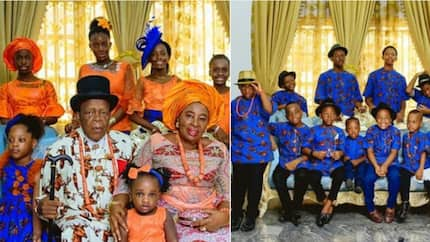 Excited Nigerian woman shows off her 16 grandsons during her 70th birthday celebration (photos)