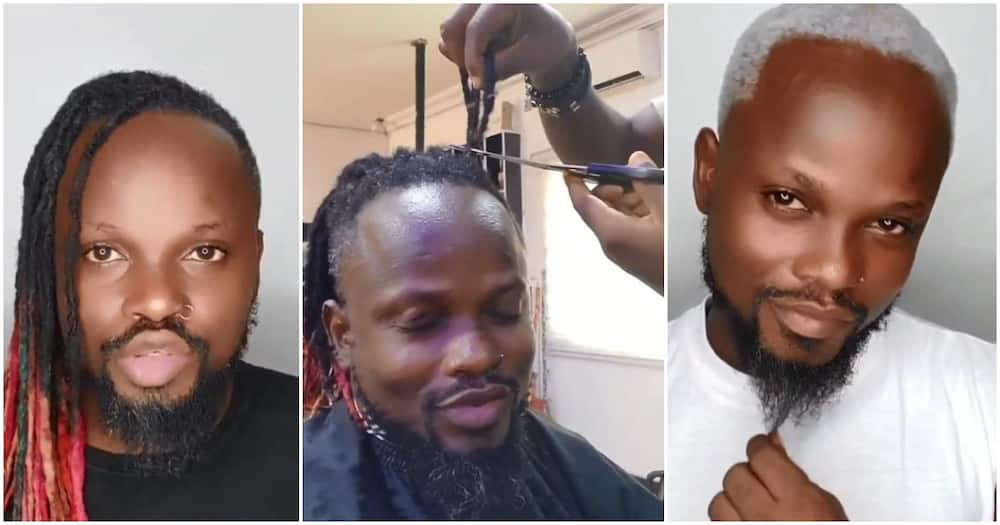 Man cuts off his dreads of 10 years to celebrate Laycon's BBNaija win (video)