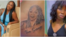 This format don cast: Hilarious reactions as fan tattoos Tiwa Savage's face on her body