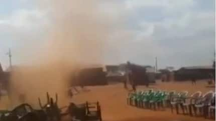 Watch viral video of how strange wind blew away chairs during a church crusade in Kenya