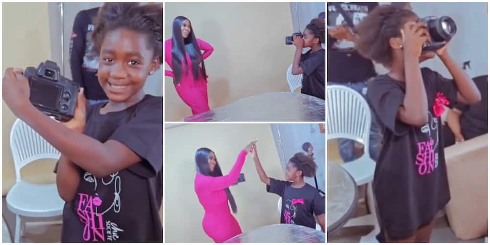 Mercy Johnson's daughter Purity takes pictures of her.