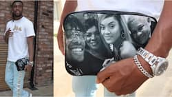 Super Eagles star shows off customized purse with a picture of his lovely family