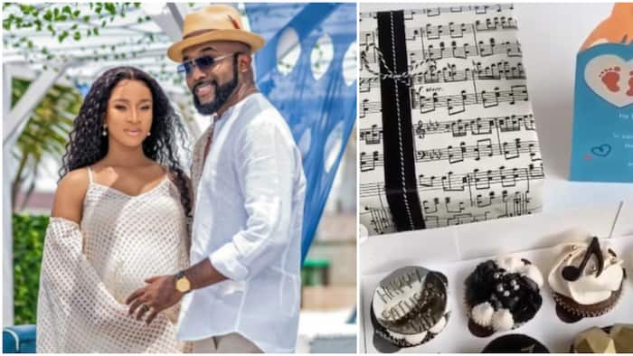 I knew you'd do great: Adesua Etomi showers Banky with sweet words, gift and cake for Father's Day
