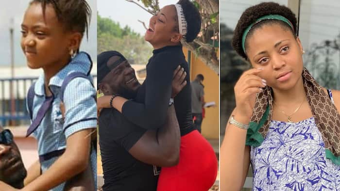Regina Daniels joins 10 years challenge, shares recreated photos taken with colleague and sister