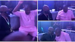 Music executive Don Jazzy goes on one knee to greet 71-year-old Charly Boy at Mercy Eke's birthday party