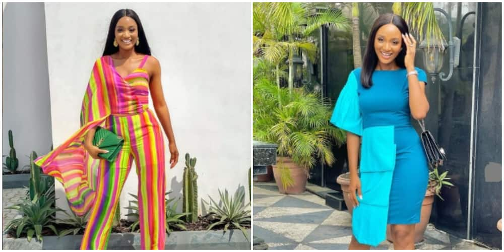 Photos of Powede Awujo in different outfits.