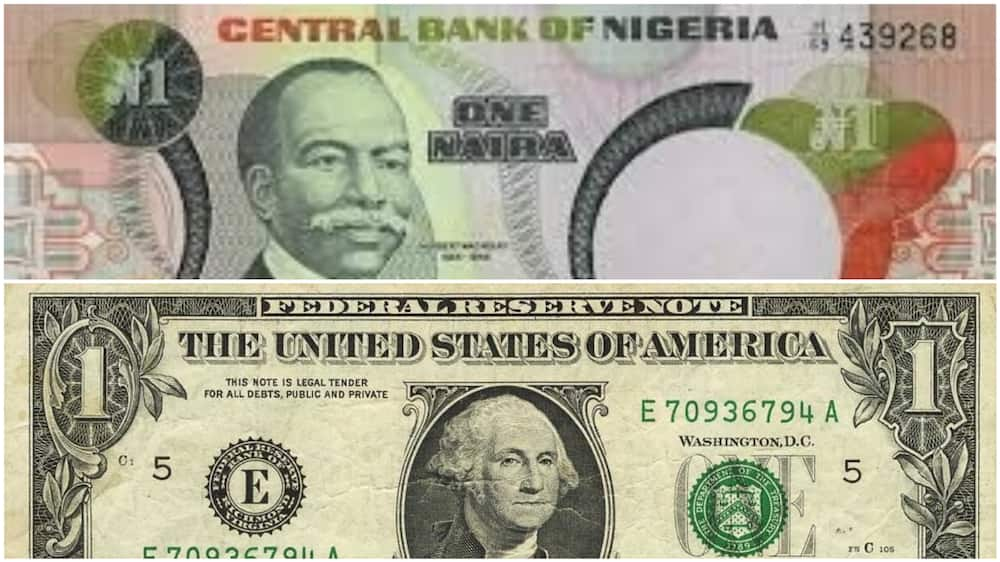 A collage of the one naira and 1 dollar notes. Photo source: Gold Prices Today