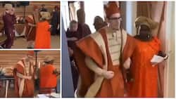 Oyinbo man and his friends cause huge stir at event as they dance to Don Jazzy's Kabiyesi song in lovely video