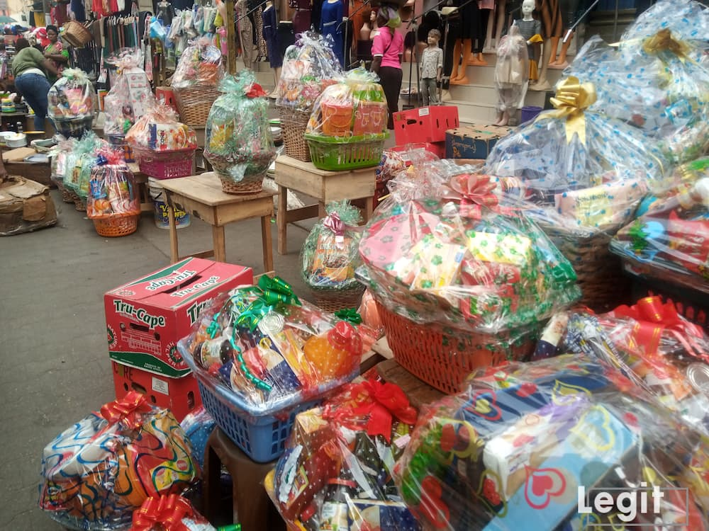 Hampers on display in popular Lagos market. Photo credit: Esther Odili