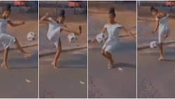 Stunning young lady in heels juggles ball flawlessly in cute video, her skills amaze many as clip go viral