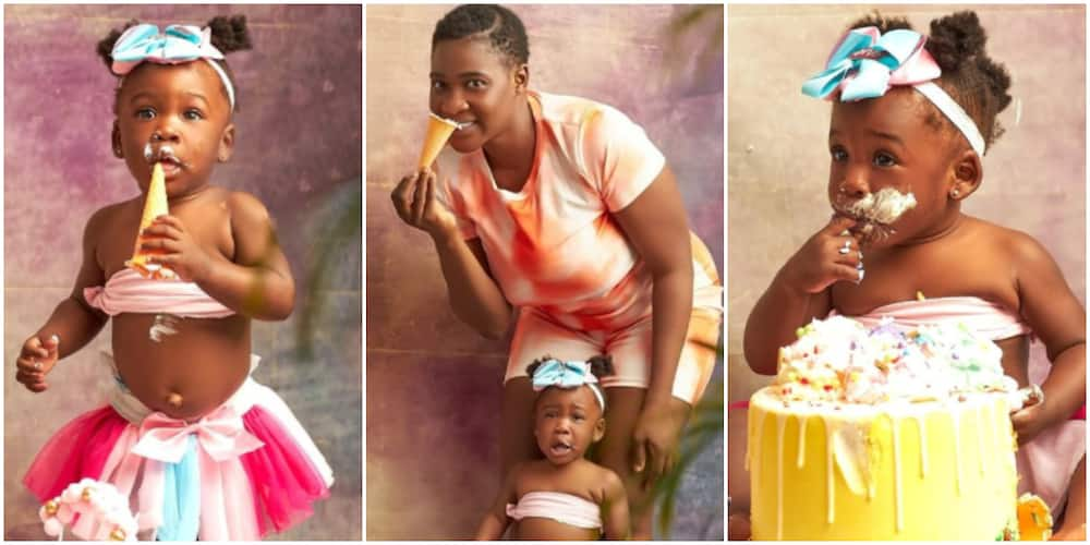 Divine at 1: Actress Mercy Johnson shares adorable photos from daughter's birthday cake smash