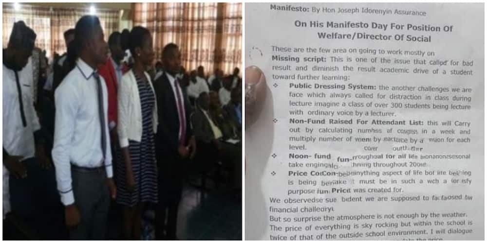 Nigerians react as manifesto of university student who is an aspirant in a faculty election surfaces, it is the bad English for many