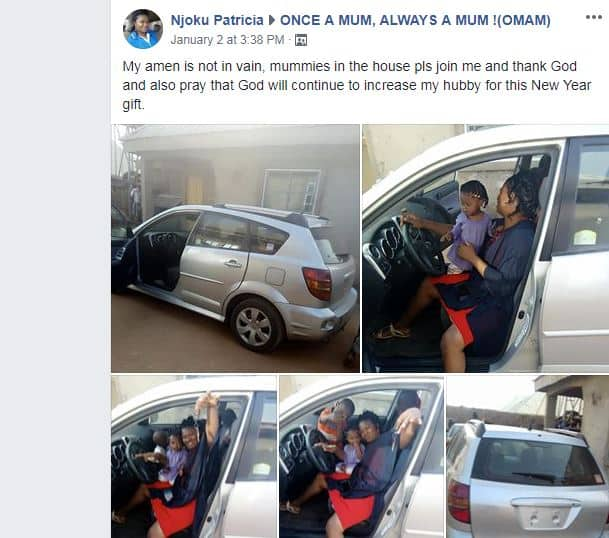 Woman prays for her husband for buying her a car as new year gift (photo)