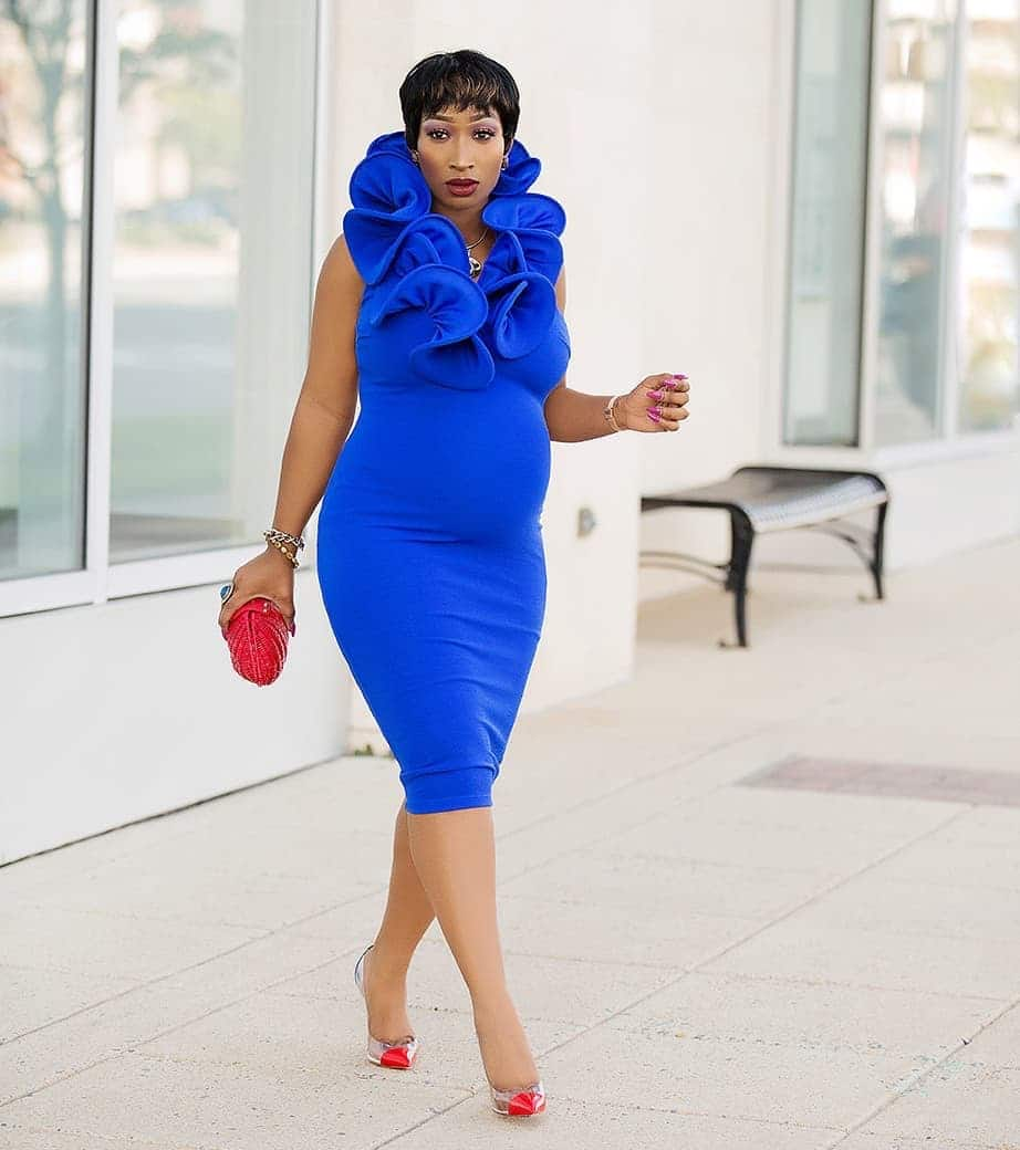 Blue dress with decor