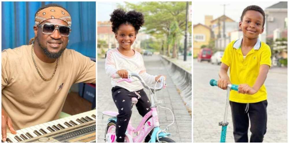 Photos of Paul Okoye and his twin children.