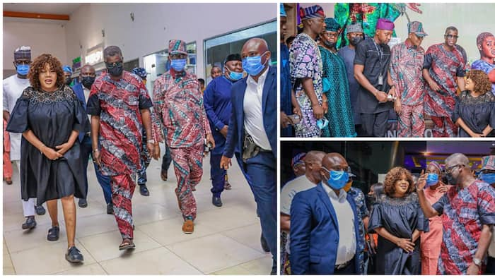 Osun deputy governor storms cinema to watch Toyin Abraham's new movie, actress kneels in appreciation