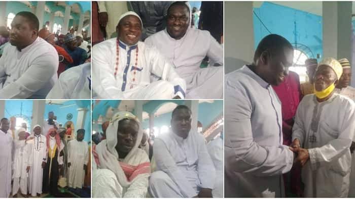 Popular reverend father celebrates Sallah with Muslims in mosque, adorable photos stirs massive reaction