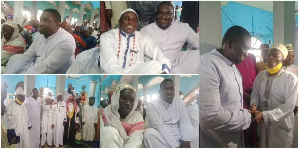 Popular Reverend Father Celebrates Sallah with Muslims in Mosque, Adorable Photos Stir Massive Reactions ▷ Nigeria news | Legit.ng