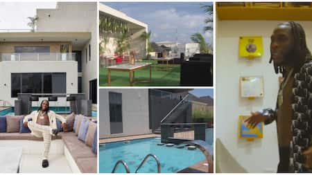 Many in awe as they get rare glimpse of Burna Boy's luxury Lagos mansion in a 2-minutes house tour clip
