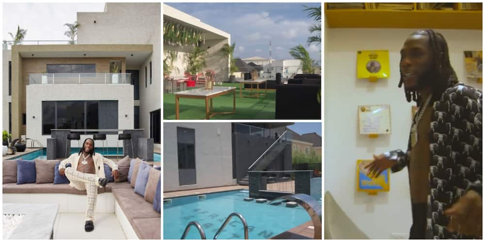 Burna Boy's shows off interiors of luxury Lagos mansion in a 2-minutes house tour clip