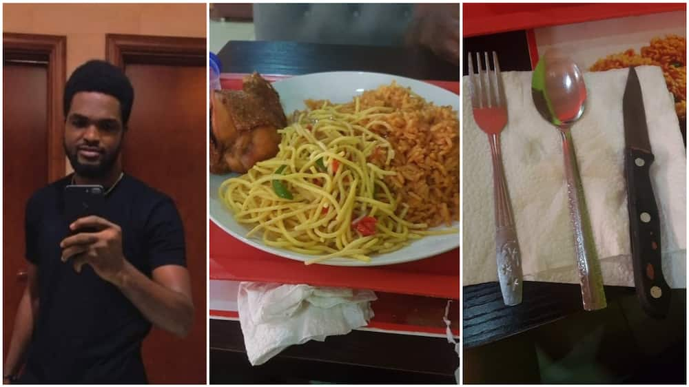 The man said the waitress was angry when he asked for cutlery. Photo source: Twitter/@ClintJeezz