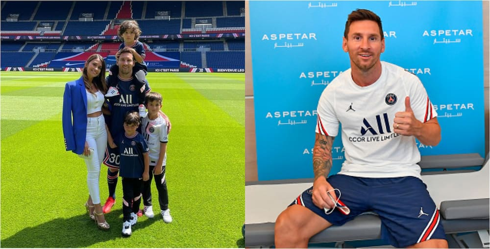 Beautiful photo as Messi is joined by wife and kids during PSG unveiling ceremony