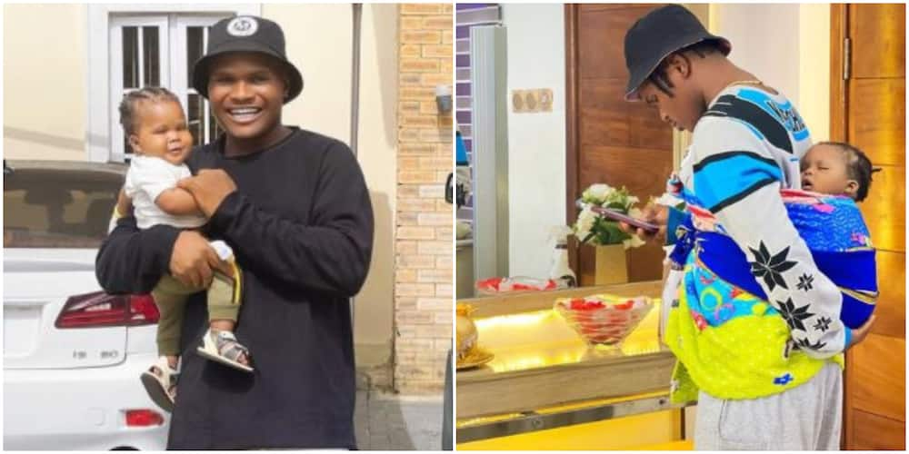 Daddy Duties: Comedian Oluwadolarz Seen Backing His Baby in Adorable Photo