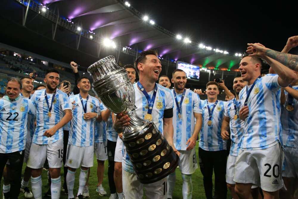 Lionel Messi and teammates