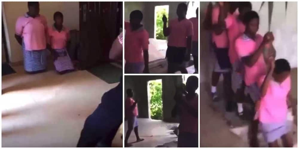 Teachers catch school girls doing 'Dorime' in uncompleted building, video goes viral