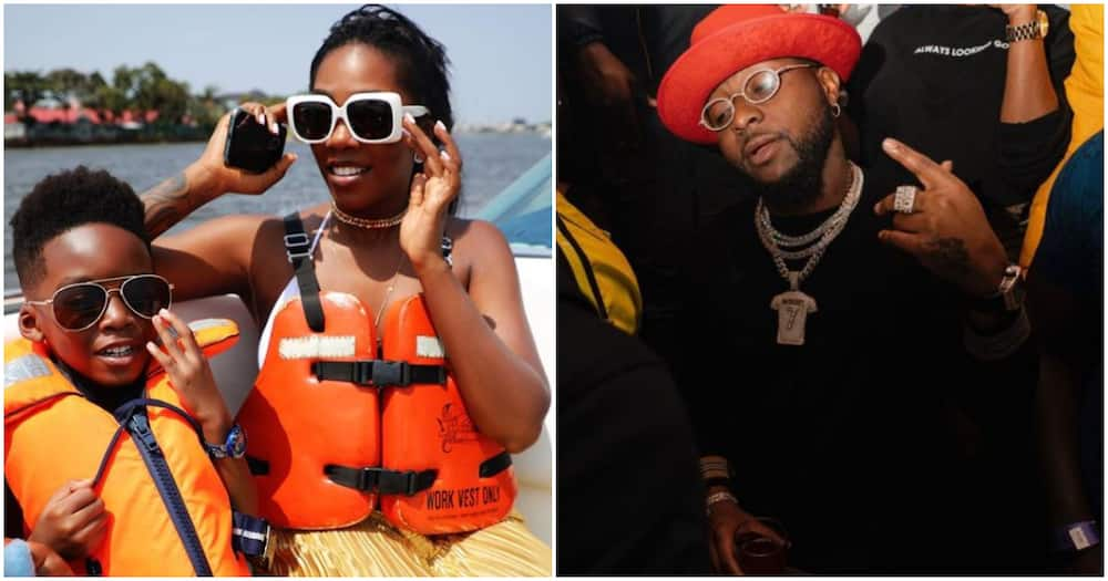 Tiwa Savage's son sings along with her in adorable video, says Davido is also his fave musician