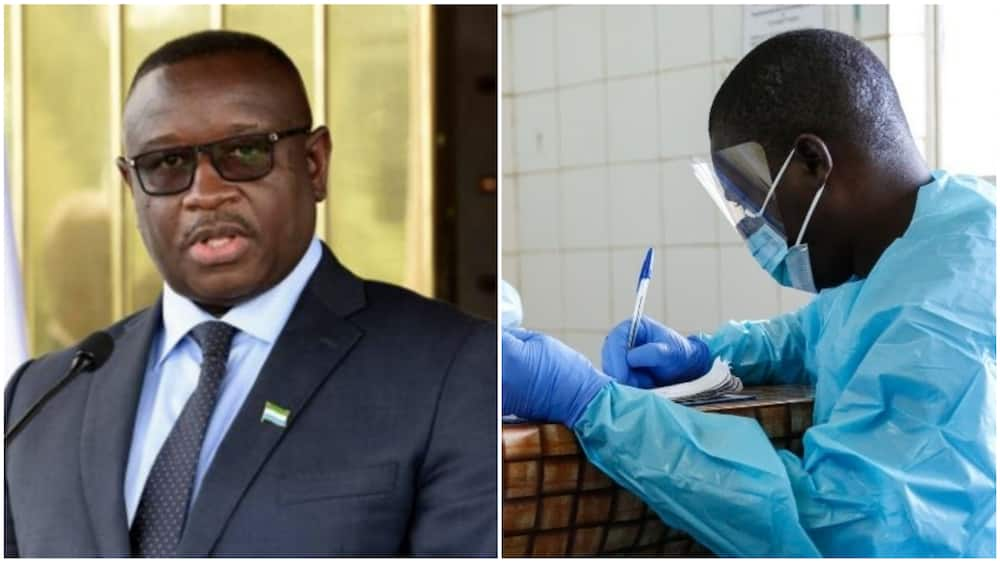 A collage of the Sierra Leonean president and a health worker in a lab. Photo source: Guardian/Vanguard