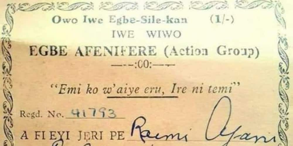 A receipt issued to Raimi Ajani by Action Group