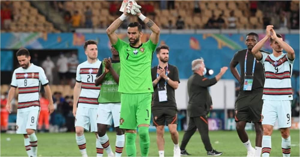 Portugal players applaud fans after their Euro 2020 defeat vs Belgium - Getty Images.