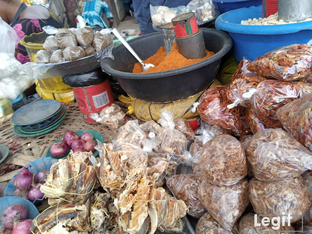 Crayfish and dry pepper are sold at reasonable prices but the cost price of stock fish have increased. Photo credit: Esther Odili