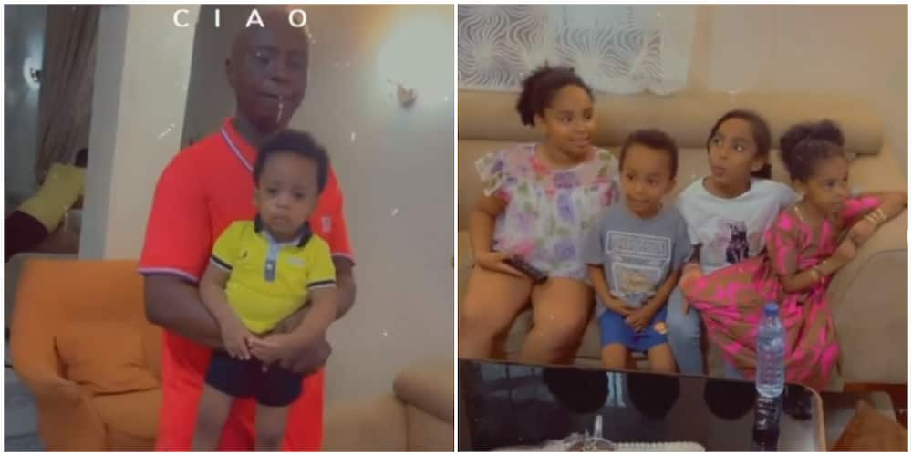 Photos of Ned Nwoko and his children.