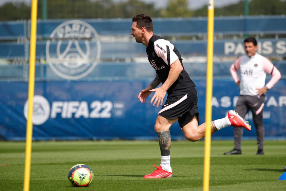 Lionel Messi beams with excitement as he trains with PSG teammates for the first time