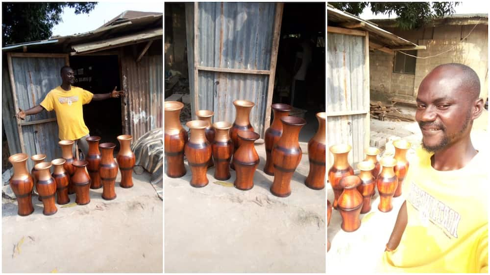 Young Nigerian man showcases his hustle, makes floor vases out of mud