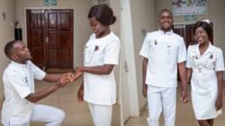 Medics pose in hospital scrubs for their prewedding photoshoot