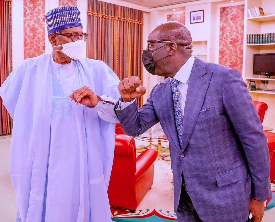 President Buhari receives Governor Obaseki at Aso Villa