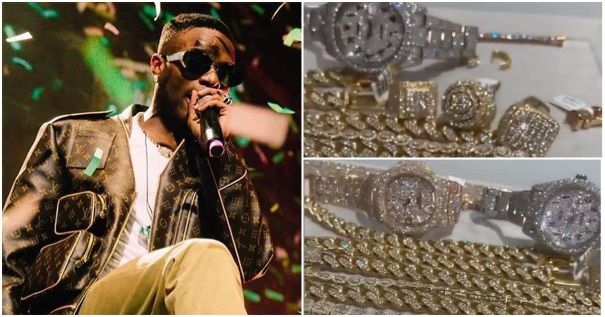 Singer Wizkid shows off expensive collection of diamond encrusted jewelry