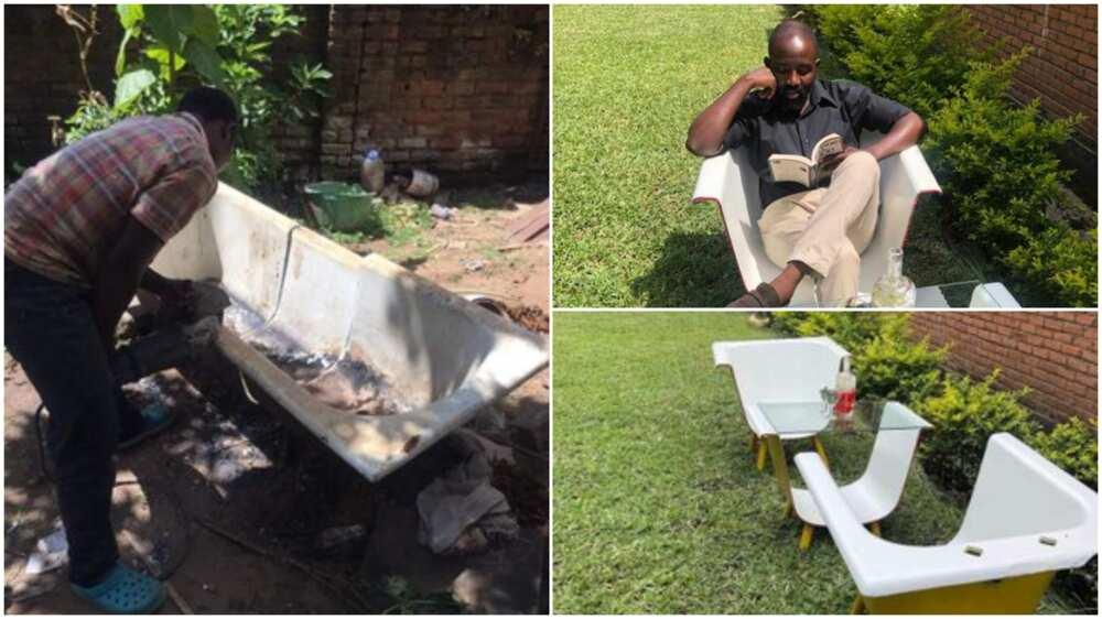 Man makes fine sitting chairs from broken, dirty bathtub, fine photos drop