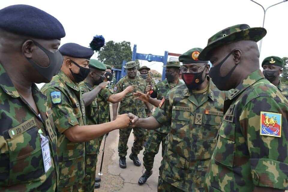 COAS Yahaya greeting NA top officials in Enugu