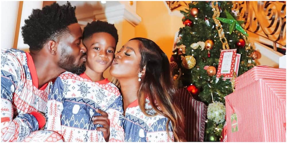 Family reunion: Singer Tiwa Savage, ex-hubby Teebillz and their son Jamil spotted in adorable Christmas photo