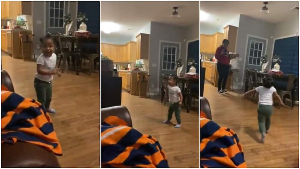 See this baby's excited reactions when her mum comes home, she jumps up, screams (video)