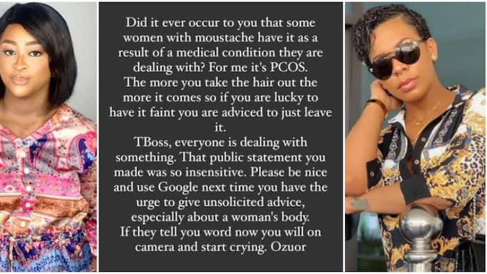 If we talk now, you will start crying: Actress Etinosa blasts Tboss for body shaming women with moustache