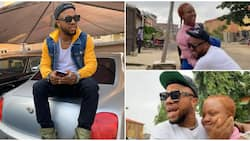 Charles Okocha leaves daughter emotional as he shows up at her school unannounced after a month away from home