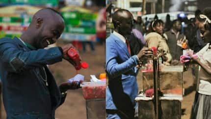 See photos of Kenyan music artist who wears suits to sell bread and hot dogs by the roadside