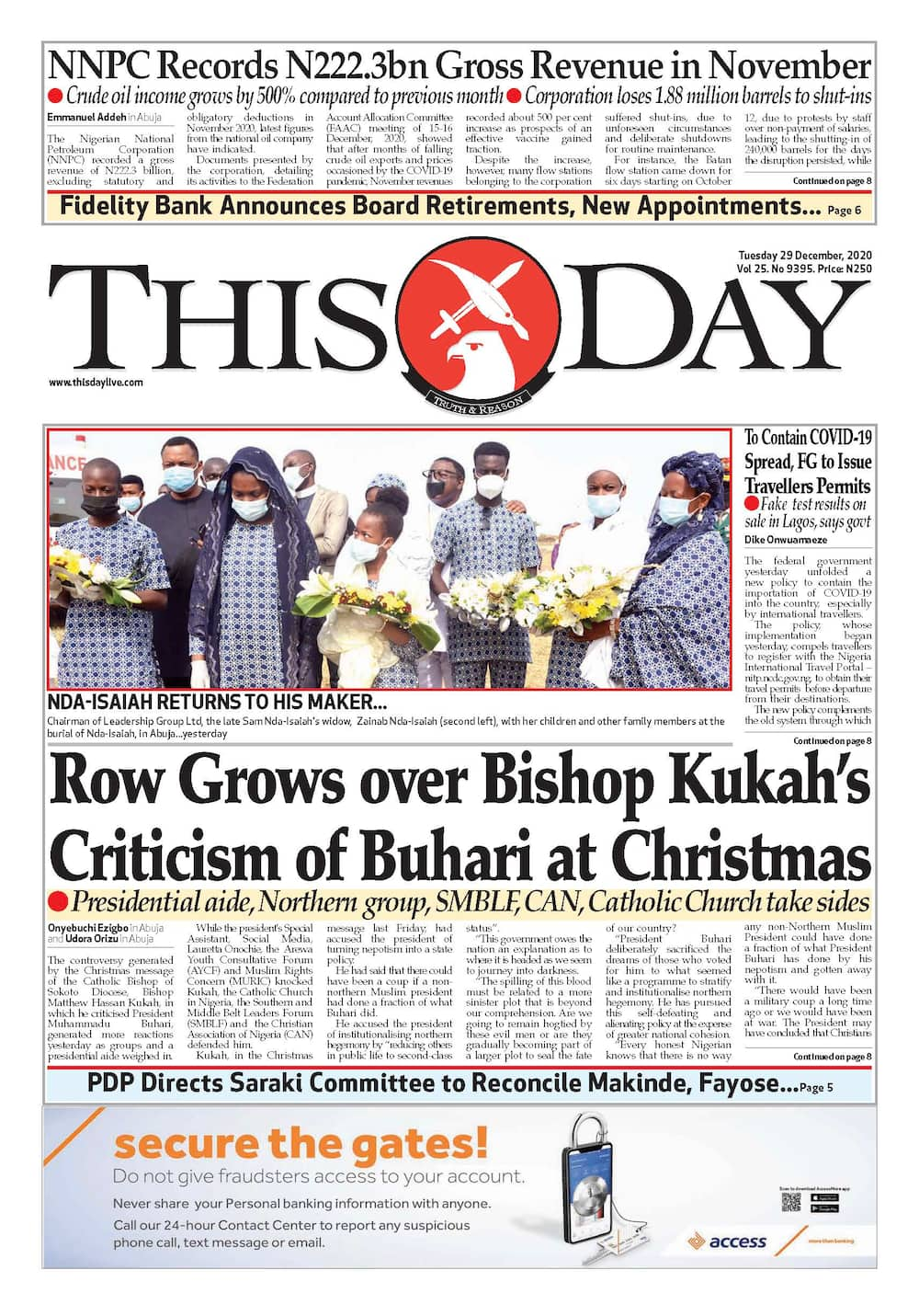 Newspaper review for Tuesday, December 29, 2020